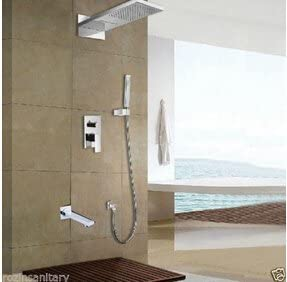 WXQ-XQ 蛇口クローム仕上げ滝レインシャワーヘッドシャワー蛇口セット浴室のシャワー浴槽のミキサーのタップ、クリア
