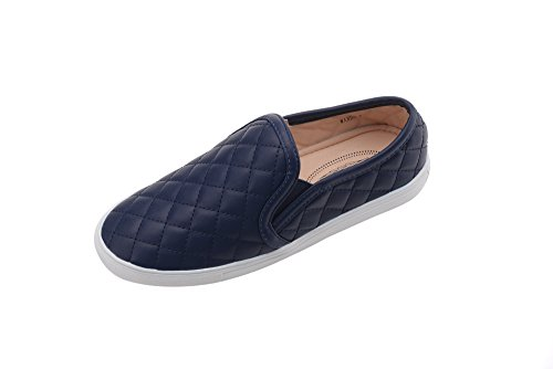 Navy Canvas Sneakers (GREENS Wanta Women Canvas Fierce Quilt Pattern Slip On Fashion Sneakers, Navy 8)