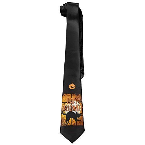 Halloween Night He Came Home Black Cat Tie Men's Cotton Printed Neck Tie Skinny Neckties Length 143-145cm (Skinny Puppy Halloween)