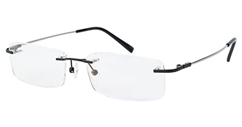 Agstum Titanium Alloy Flexible Rimless Frame Prescription Eyeglasses  Black