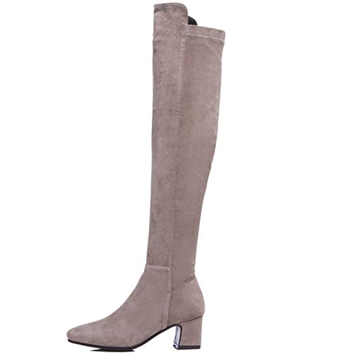 Above Womens Toe Elekey Block Leather ELEHOT Boots Grey The Heel Knee Zippers Square xagw881n