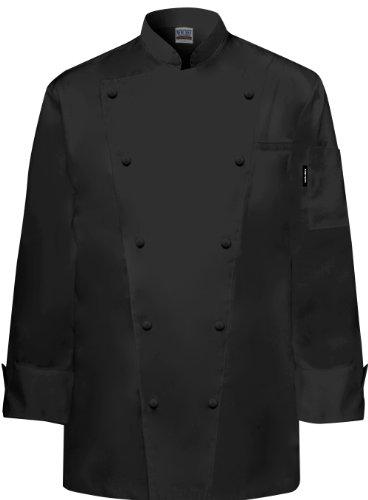 Newchef Fashion Marquis Chef Coat Men's Black Chef Jacket 2XL Black by Newchef Fashion