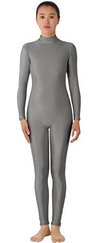 Unitard Dancewear (JustinCostume Women's Lycra Spandex Unitard Bodysuit Dancewear, XL, Grey)