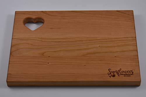 (Sunflowees SB2112CH Premium Hardwood Cherry Cutting Board with Heart for Rustic Farmhouse Flair 9