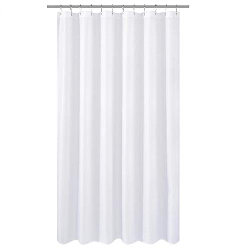 N&Y HOME Extra Long Fabric Shower Curtain or Liner 84 inches Height, Hotel Quality, Washable, Water Repellent, Diamond Patterned White Bathroom Curtains with -