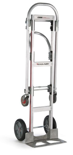 Magline GMK81UAB Aluminum Gemini Sr Convertible Hand Truck, U Loop Handle, Cushion Wheels, 500lbs Capacity, 61