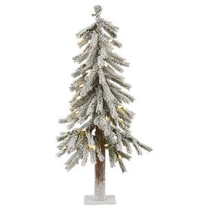 Vickerman Pre-Lit Flocked Alpine Tree with 50 Warm White Italian LED Lights, 2-Feet, Flocked White on Green