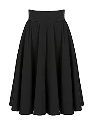 Omelas Women A-line Midi Swing Flare Skater Skirt Dress High Waisted Knee Length