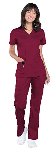Cherokee Workwear Revolution Women's Medical Uniforms Scrub Set Bundle - WW620 V-Neck Top & WW120 Drawstring Pant & Marc Stevens Badge Reel (Wine - XXX-Large/XXX-Large)