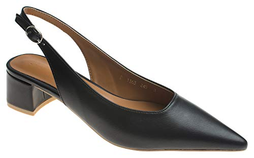 AnnaKastle Womens Chic Pointy Toe Low Block Heel Slingback Pump Black