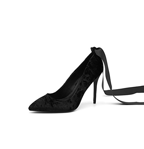 Black Female Vintage Sexy Pointed High Heels Fashion Elegant Lady Suede Sandals Comfortable Shallow Mouth Wedding Shoes Comfortable Lace Shoes (Color : Black 8cm, Size : 33)