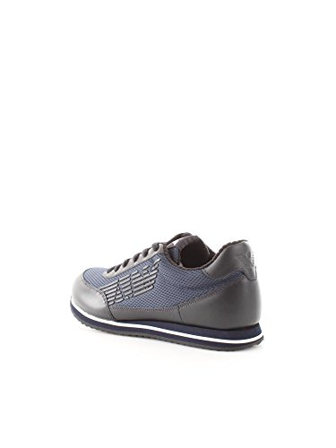 Armani Jeans Mens Blue Leather Trainer
