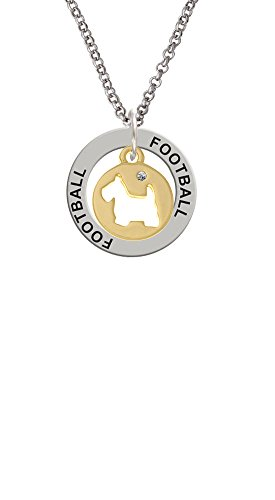 Gold Tone Scottie Dog Silhouette - Football Affirmation Ring Necklace