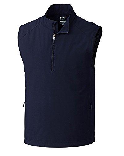 Cutter & Buck MCO09829 Mens CB WeatherTec Summit Half Zip Vest, Navy Blue-XXXL