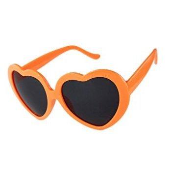 Lunettes en Soleil Coeur Forme Hangaga pour de rétro en orange Mignon de Plastique Femme Lunettes Cadre wq88PC5