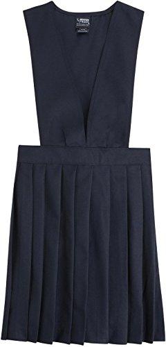 French Toast School Uniform Girls V-Neck Pleated Jumper, Navy, (French Toast V-neck Jumper)