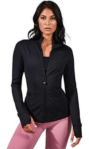 90 Degree By Reflex Women's Lightweight, Full Zip Running Track Jacket - Black - Small