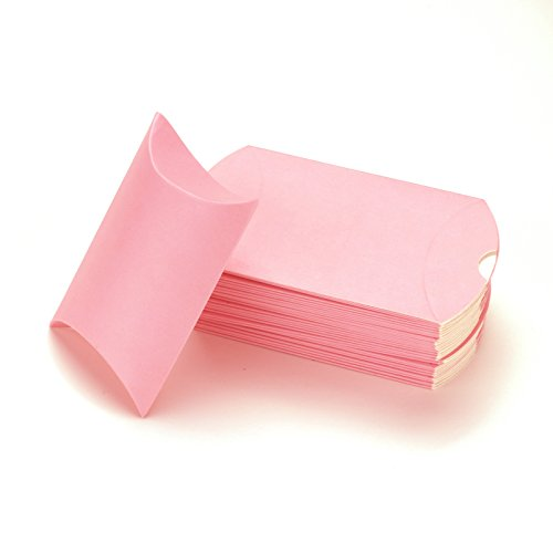 (Vlovelife Light Pink Paper Pillow Favor Gift Box Wedding Party Favour Anti-Scratch Gift Candy Box Pack Of 100)