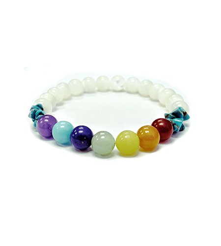 7 Chakras Gemstone Healing Bracelet (Mother of - Bracelet Pearl Freshwater Chocolate
