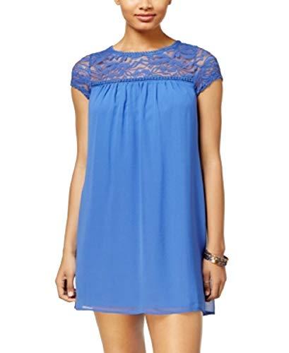 - As U Wish Juniors' Lace-Yoke Shift Dress (Light Blue, S)