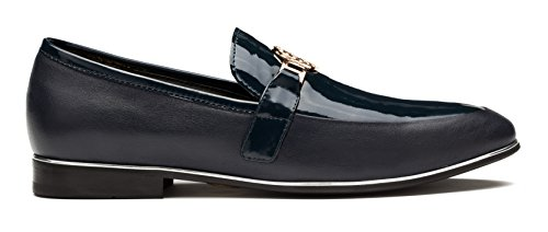 sale visit new OPP Designer Men's Smooth Leather Slip On Metal Bit Detail Low Heel Loafer Shoes Blue cheap sale largest supplier outlet reliable buy online new discount collections 5NYf3ZO