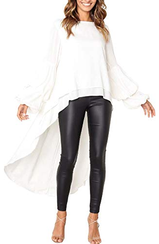 Women High Low Asymmetrical Irregular Hem Lantern Long Sleeve Casual Blouse (White, M)