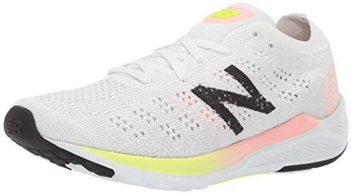 New Balance Women's 890v7 Running Shoe, White/Guava Bleached Lime GLO, 8.5 B US (New Balance Shoes Smell Like Cat Urine)