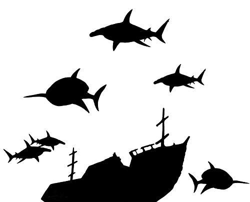 (Create-A-Mural Boys Wall Decals, Vinyl Sunken Ship & Shark Wall Decals)