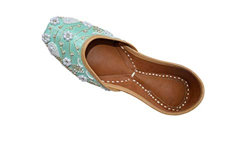 Indian Ethnic Embroidered Jutti Mojari Ballet Flats Traditional Pump Shoes for Women (9.5 B(M) US, Green) (Indian Embroidered Sandals)