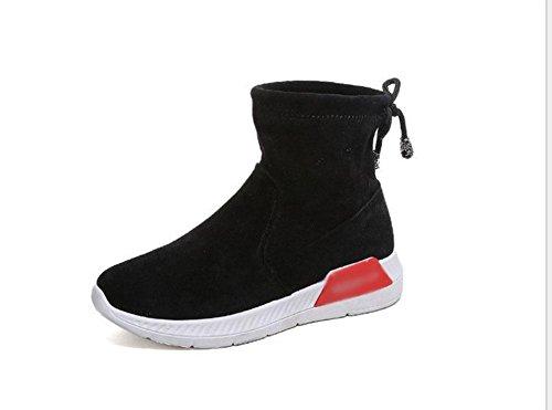 mujer planas botas después zapatos cabeza tarta KUKI del con encaje suelta botas botas mujer negro ante de algodón redonda de de 4Eqdx6v
