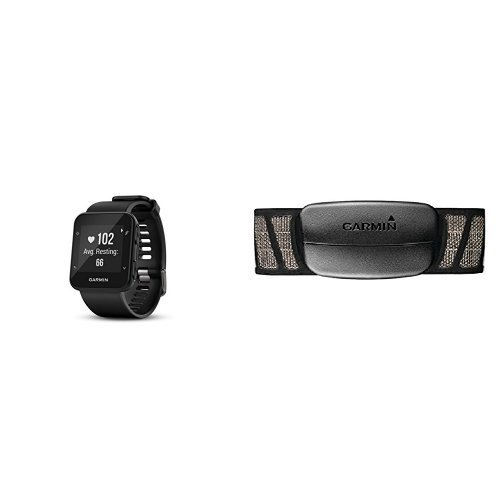 Garmin Forerunner 35 Watch and HRM-Tri Heart Rate Monitor, Black and Premium Heart Rate Monitor (Soft Strap) by Garmin