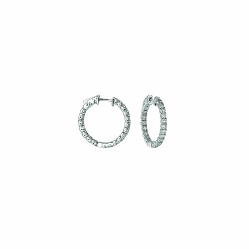 14K White Gold Hoop Earrings (patented snap lock) - 2ctw. Diamond