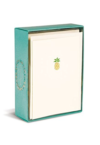 Graphique Pineapple La Petite Presse Notecards, 10 Durable Embellished Gold Foil Pineapple Notes with Matching Envelopes, 3.25