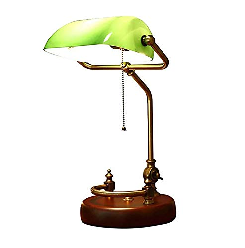Marching orchid American Retro Table Lamp,Green Glass Shade and Polished Brass Finish E27 Lighting Eye-Caring Banker's Desk Lamp for Study Bedroom Living ()
