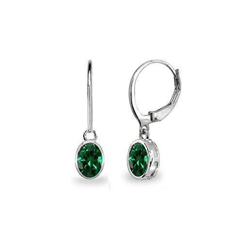 Sterling Silver Simulated Emerald 7x5mm Oval Bezel-Set Dangle Leverback Earrings for Women, Teen - Sterling 7x5mm Emerald