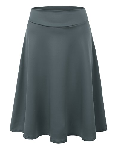Doublju Elastic High Waist A-Line Flared Midi Skirt For Women With Plus Size (Made In USA) Darkgray 3XL