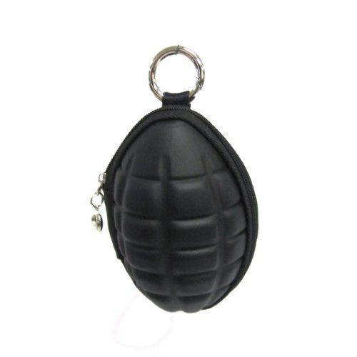 Grenade Shaped Novelty Coin Purse Clutch with Key Ring Black