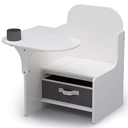 (Delta Children MySize Chair Desk with Storage Bin, Bianca White)