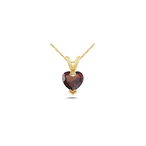 0.87 Cts of 6 mm AAA Heart Garnet Pendant in 14K Yellow Gold ()