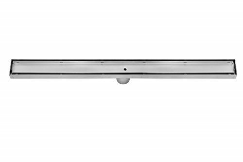 DreamDrain Brushed Stainless Linear Shower Drain Tile Insert, 9 Gallons Per Minute, 2-Inch-Diameter Outlet, Stainless Steel, High Flow Rate, Removable Tray, Easy Shower Installation, 24-Inch ()
