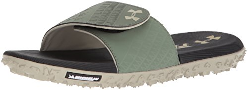 Under Armour Men's Fat Tire SL Slide Sandal, Black (003)/Moss Green, 9 (Michelin Man Tire)