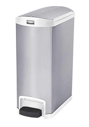 Rubbermaid Commercial Slim Jim End Step-On Trash Can, Stainless Steel, 13 Gallon, White - Slim Garbage Disposal