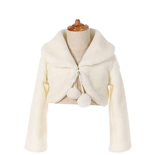 FAYBOX Cozy Faux Fur Flower Girl Bolero Shrug Accessories Princess Cape C Size S