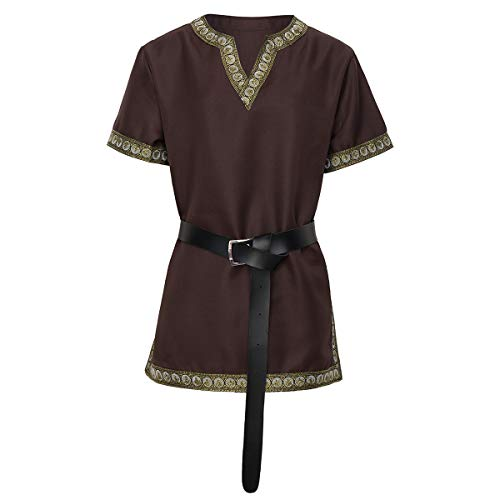Medieval Knight Tunic Viking Warrior T-Shirt Costume Brown,Small -