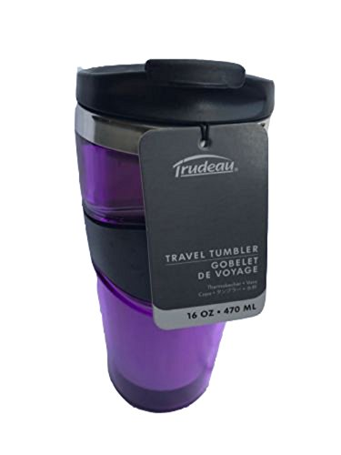 (Trudeau 16oz Purple Double Wall Insulated Travel Tumbler - Keeps Drinks Hot/Cold 2 Hours)