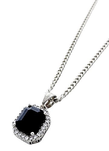 Exo Jewel Stainless Steel Mini Onyx Black Ruby Stone Pendant Necklace with 24