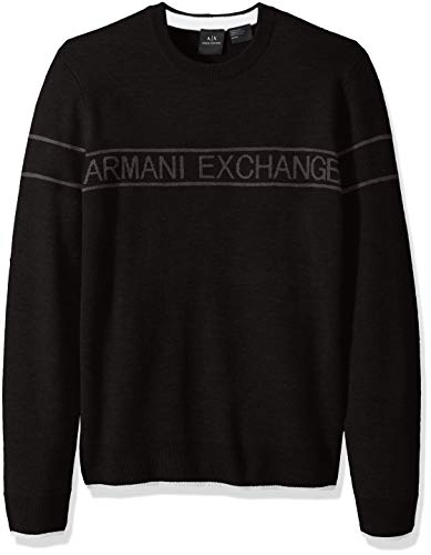 (A|X Armani Exchange Men's Band Pullover Crewneck Sweater, Black, XXL)