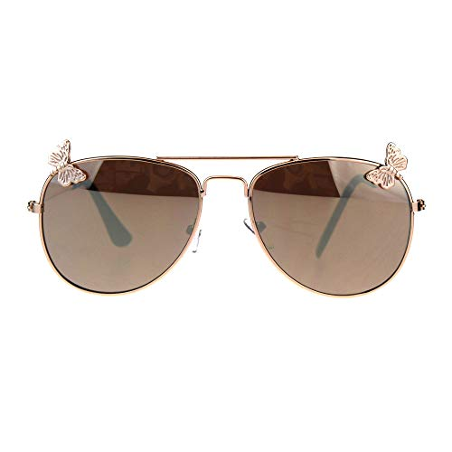 Girl's Aviator Sunglasses Kids Fashion Gold Metal Frame Butterfly Gold Mirror