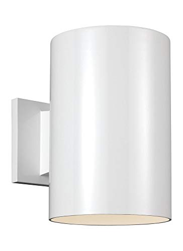Sea Gull Lighting 8313901-15, Bullets Cast Aluminum Outdoor Wall Sconce Lighting, 20W, White