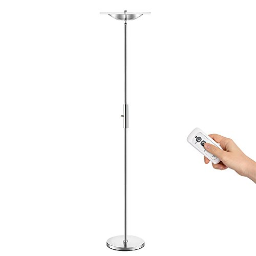 Shade Floor Lamp Acrylic (Torchiere Floor Lamp SUNLLIPE18W Tall Standing Lamp with Remote Control Stepless Dimming Top Adjustable Super Bright Lamps for Living Room Bedroom Office (White-Chrome) )